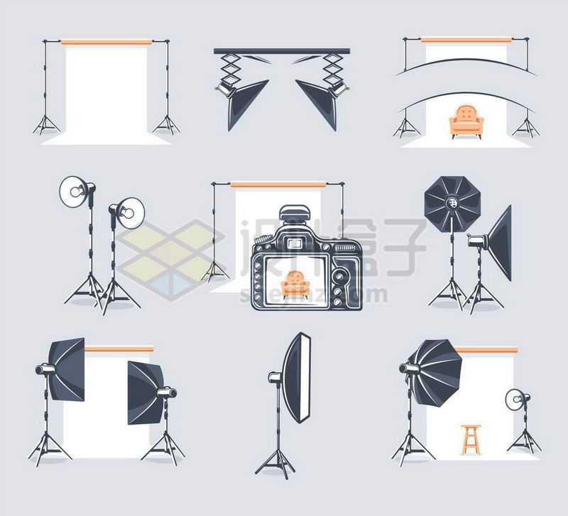 拍照背景幕布反光灯照明灯等淘宝电商摄影棚拍照工具8518183矢量图片免抠素材