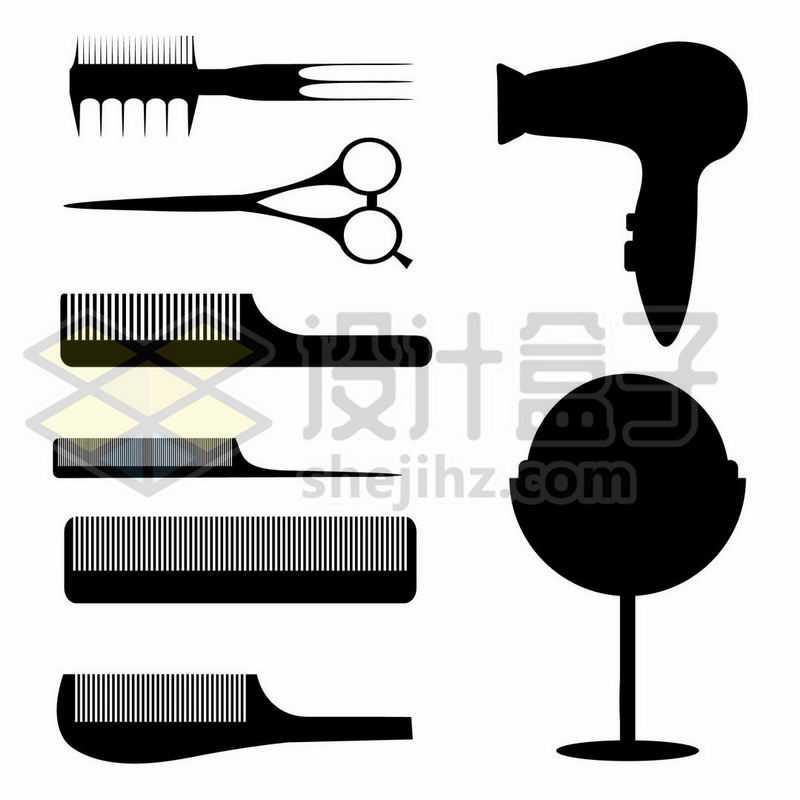 各种美发梳子吹风机剪影6595794矢量图片免抠素材