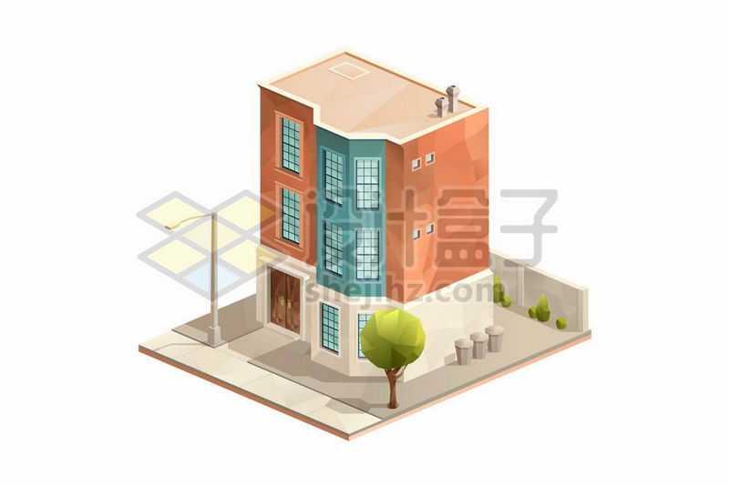 2.5D风格三层小楼房独栋别墅花园洋房1682167矢量图片免抠素材