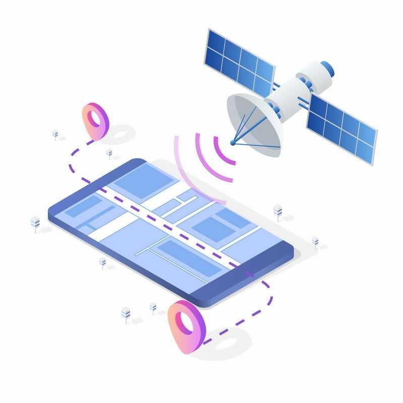 2.5D立体风格手机和GPS北斗卫星地图导航系统4799134矢量图片免抠素材