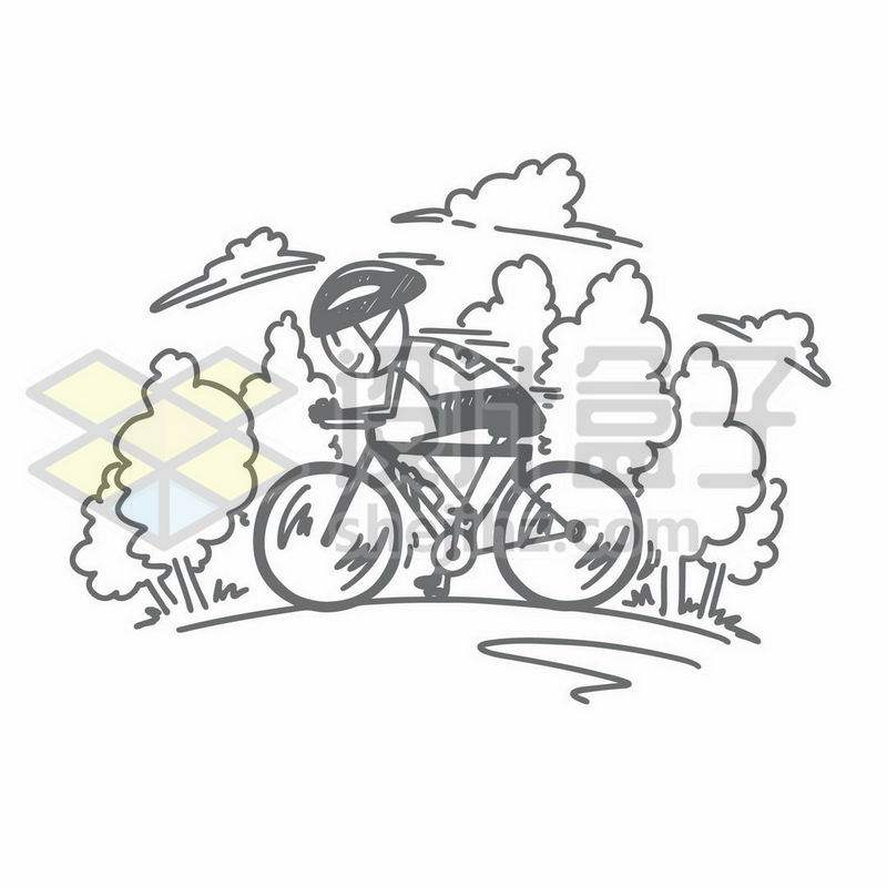 骑自行车的卡通小人儿手绘涂鸦插画8310360矢量图片免抠素材