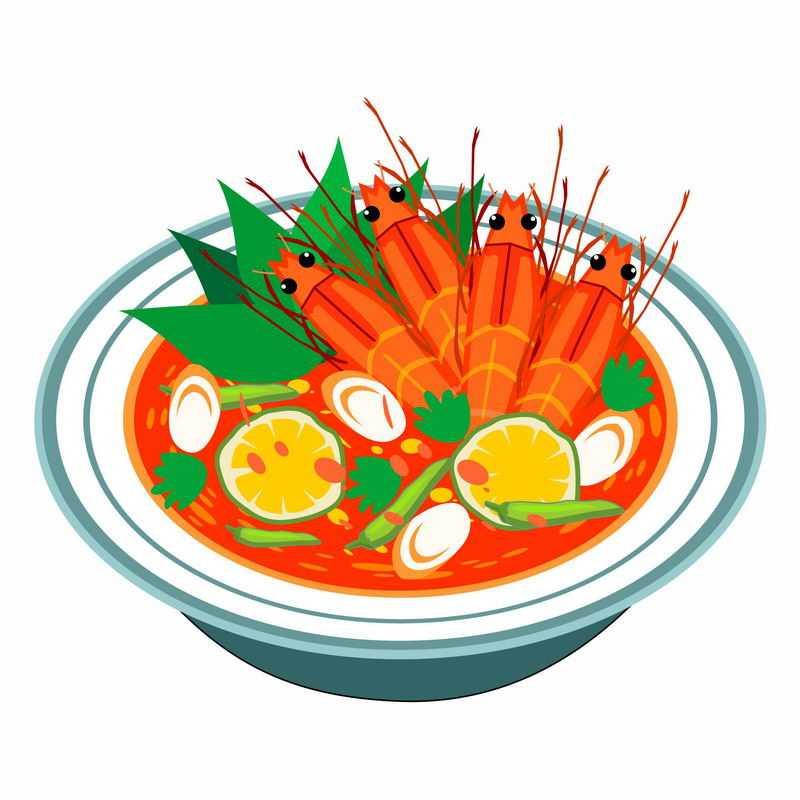 一碗美味的大虾花甲西红柿酸辣汤美食9344136矢量图片免抠素材
