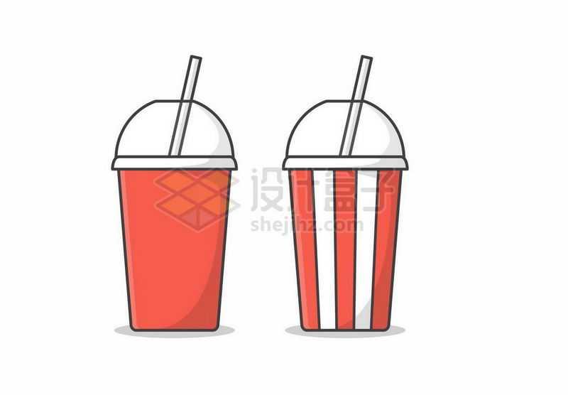 红色一次性杯子中的可口可乐饮料4130334矢量图片免抠素材