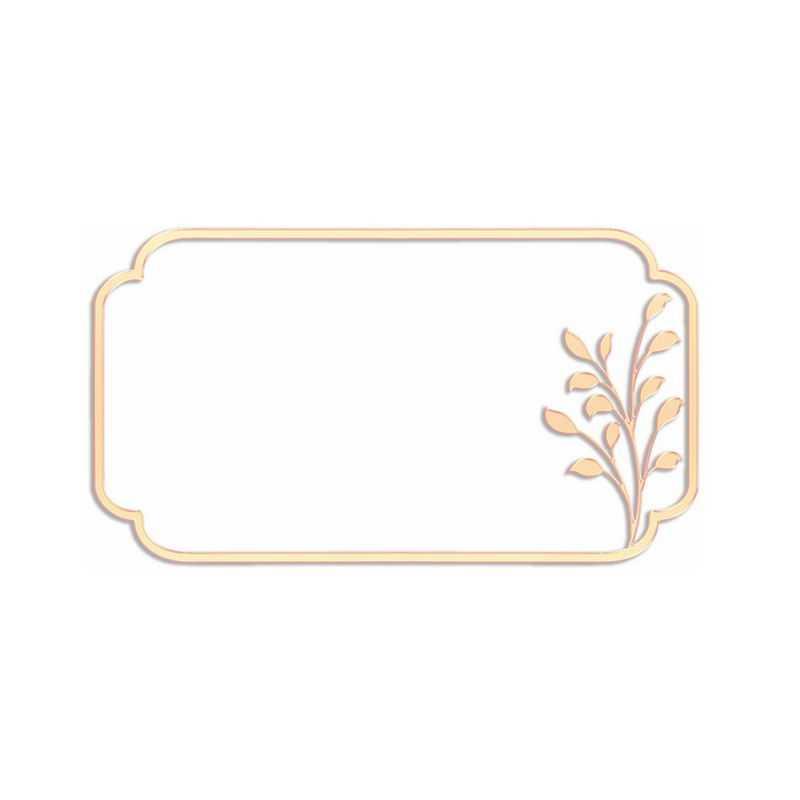 金色金属色风格植物浮雕效果边框文本框信息框6009991免抠图片素材