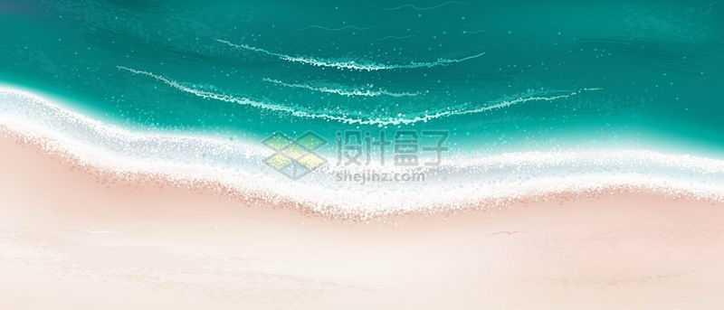 海滩沙滩上的浪花小清新漫画背景图5844659矢量图片素材