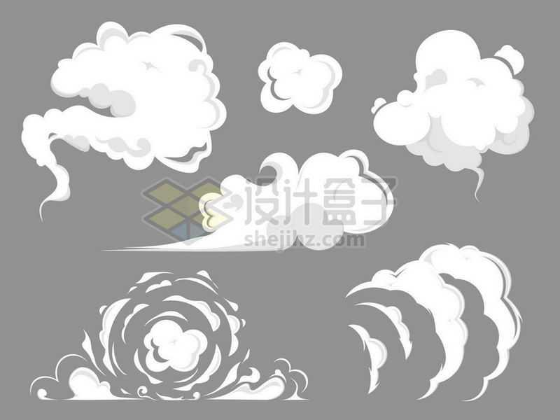 6款漫画风格卡通烟雾白烟白云效果3390849矢量图片免抠素材