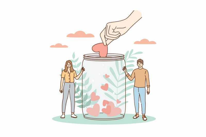 情侣往玻璃罐中储存爱心情感越来越好9676347图片免抠素材