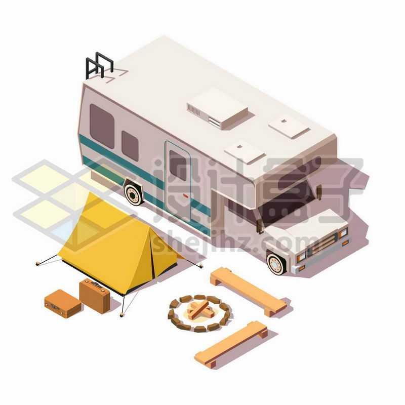 2.5D风格在宿营地的房车和帐篷篝火4040730矢量图片免抠素材
