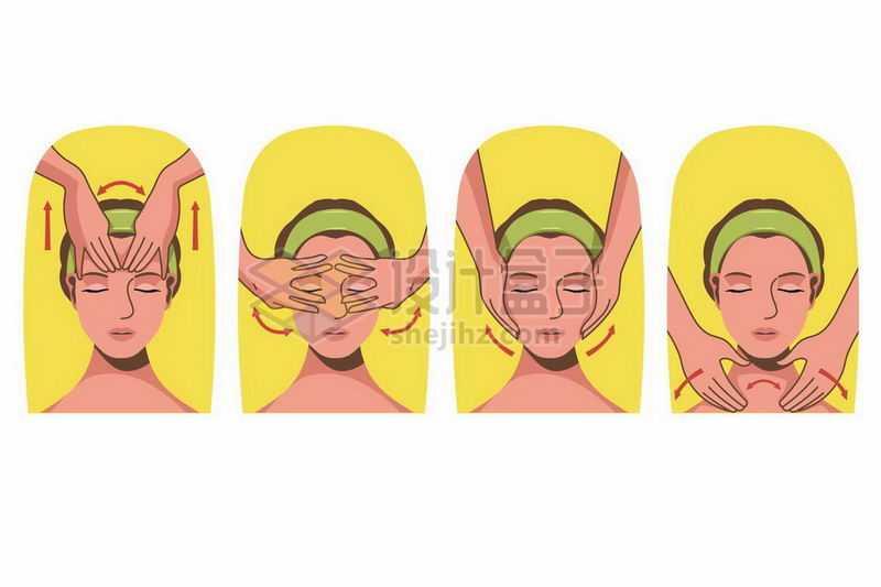 脸部按摩SPA皮肤保养流程图插画5868263矢量图片免抠素材