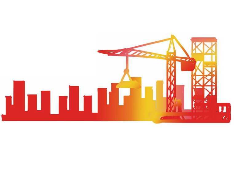 红色黄色渐变色风格建筑工地吊塔剪影1902843PSD图片免抠素材