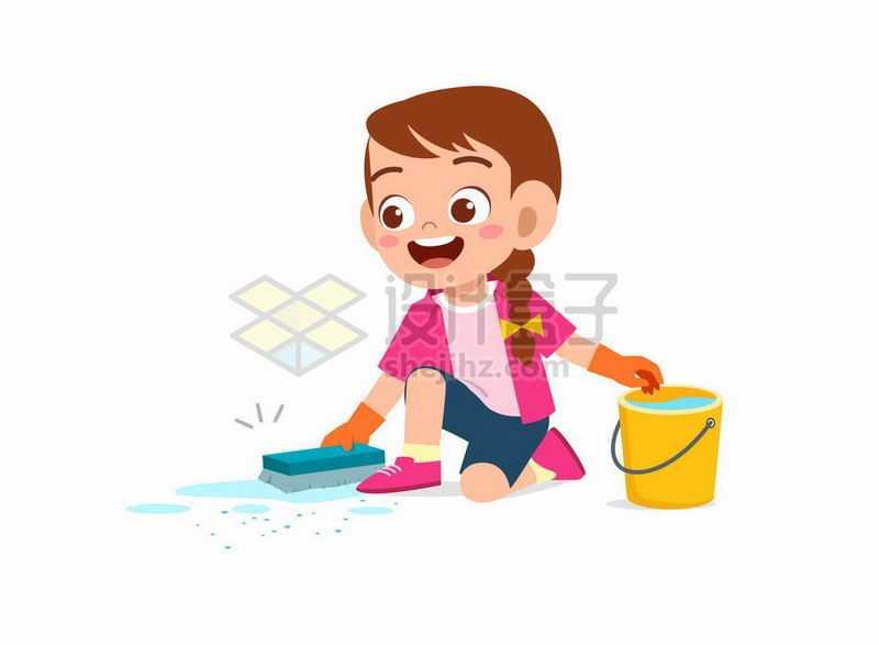 卡通女孩勤快的在擦地打扫卫生2731580矢量图片免抠素材