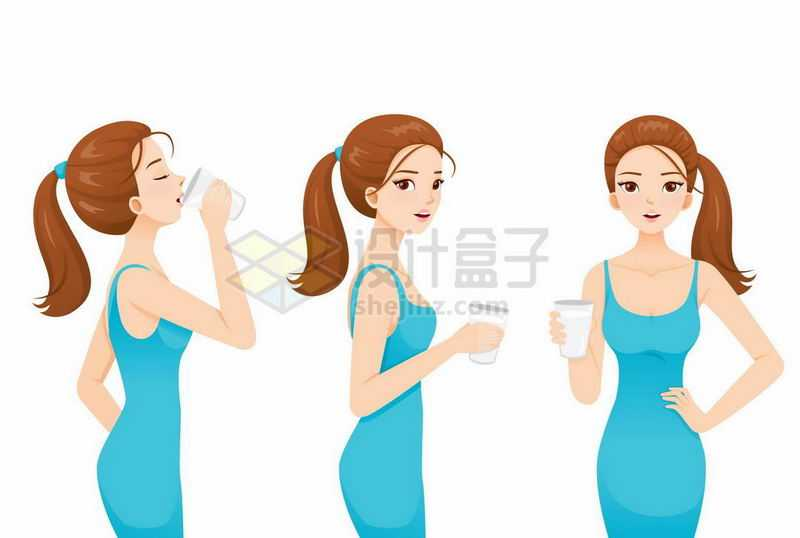 身材很好的美女正在喝水喝牛奶6081833矢量图片免抠素材