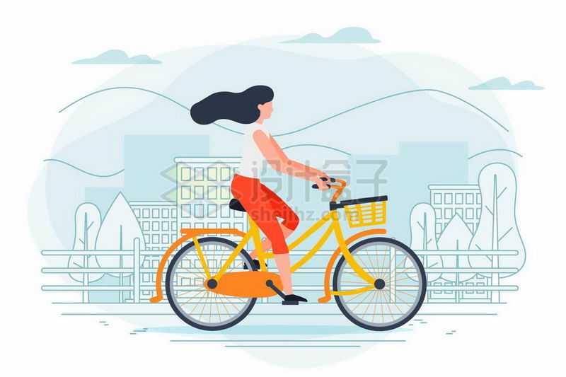 手绘插画风格女人骑自行车出行5604742矢量图片免抠素材