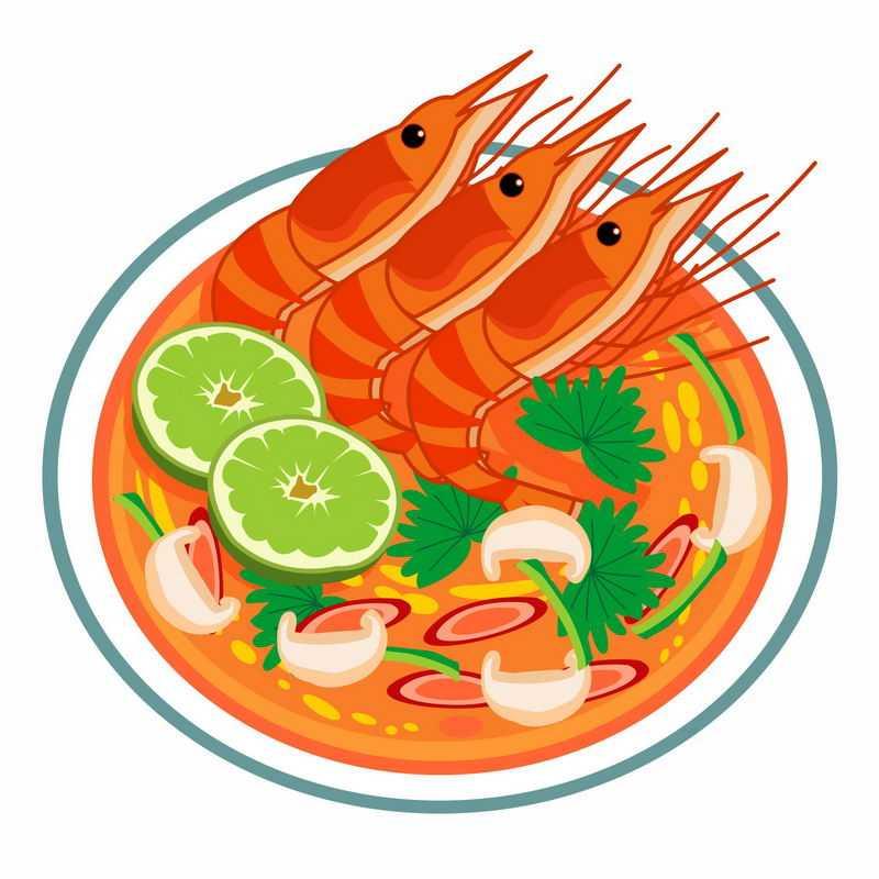 一碗美味的大虾西红柿蘑菇汤美食6913860矢量图片免抠素材