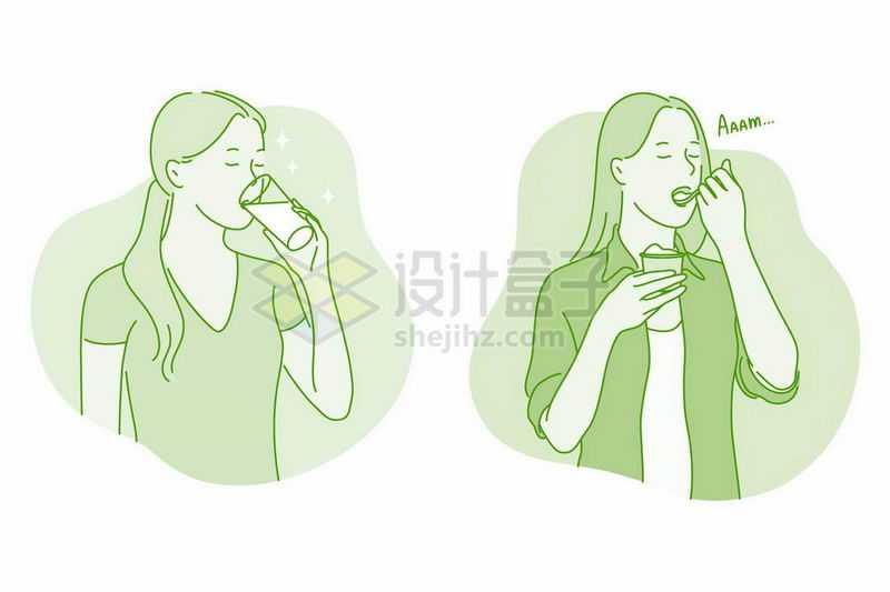 手绘线条风格女人喝水喝牛奶和吃冰淇淋3982823矢量图片免抠素材