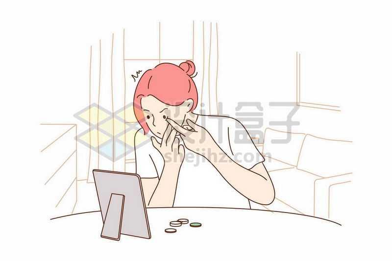 正在对着镜子戴隐形眼镜美瞳的女孩手绘插画4128319矢量图片免抠素材