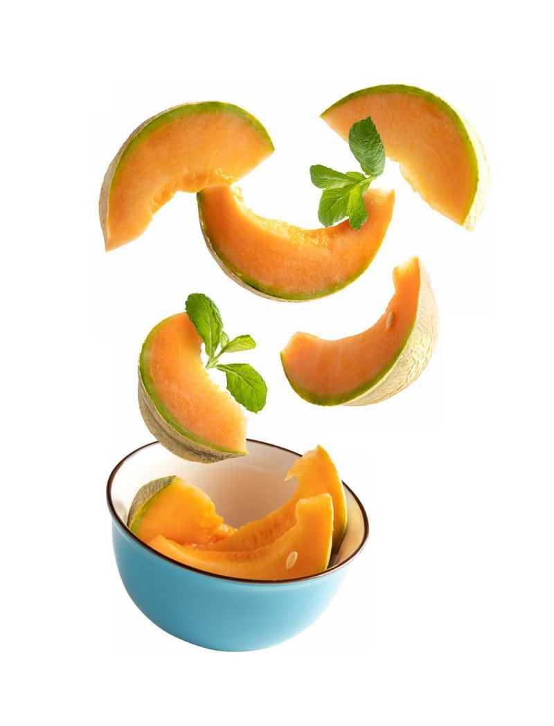 碗中飞起来的哈密瓜美味水果6924088免抠图片素材