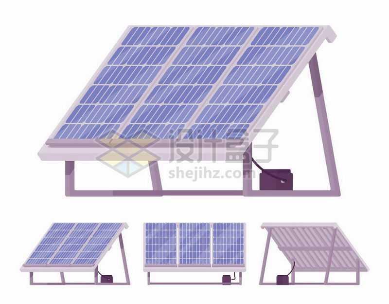 屋顶的太阳能电池四视图6823107矢量图片免抠素材