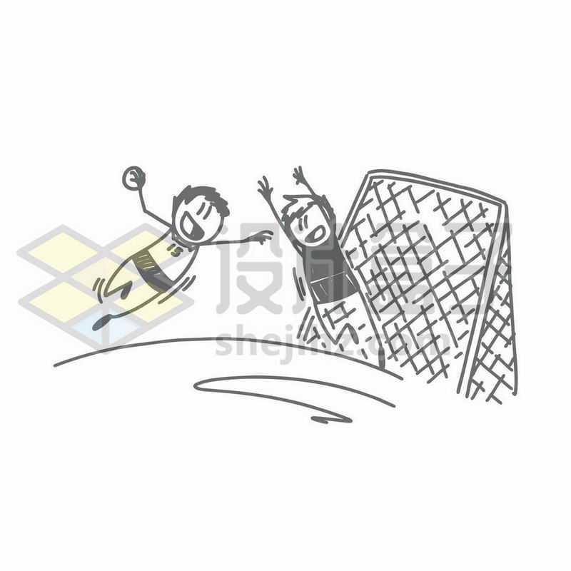 踢足球的卡通小人儿手绘涂鸦插画7533454矢量图片免抠素材