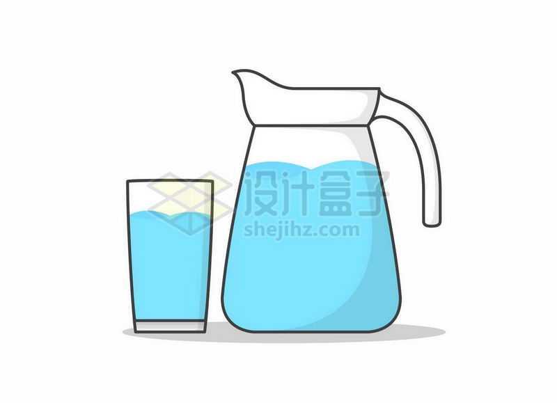 卡通风格玻璃水壶和玻璃杯中的蓝色饮用水7049933矢量图片免抠素材