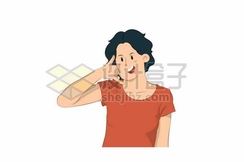 卡通女人摆出打电话手势手绘插画8890777矢量图片免抠素材