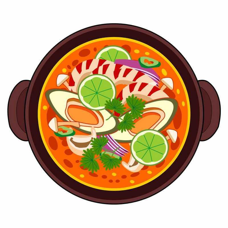 一碗美味的花蛤蘑菇海鲜酸辣汤美食8772804矢量图片免抠素材