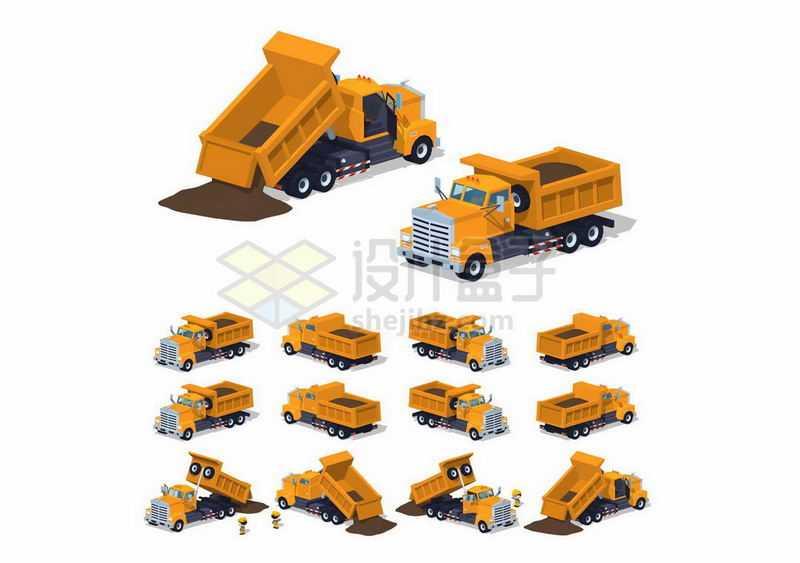 12种不同角度的装满矿石沙土的黄色砂土车矿车自卸卡车1101844矢量图片免抠素材