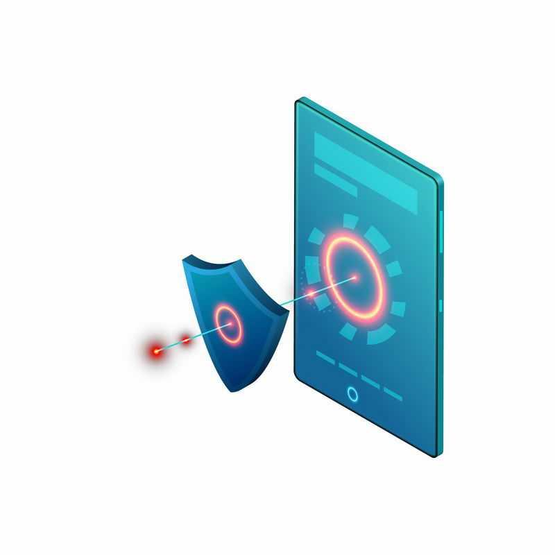 蓝色手机上的盾牌和发光光圈象征了手机安全信息安全1932605矢量图片免抠素材