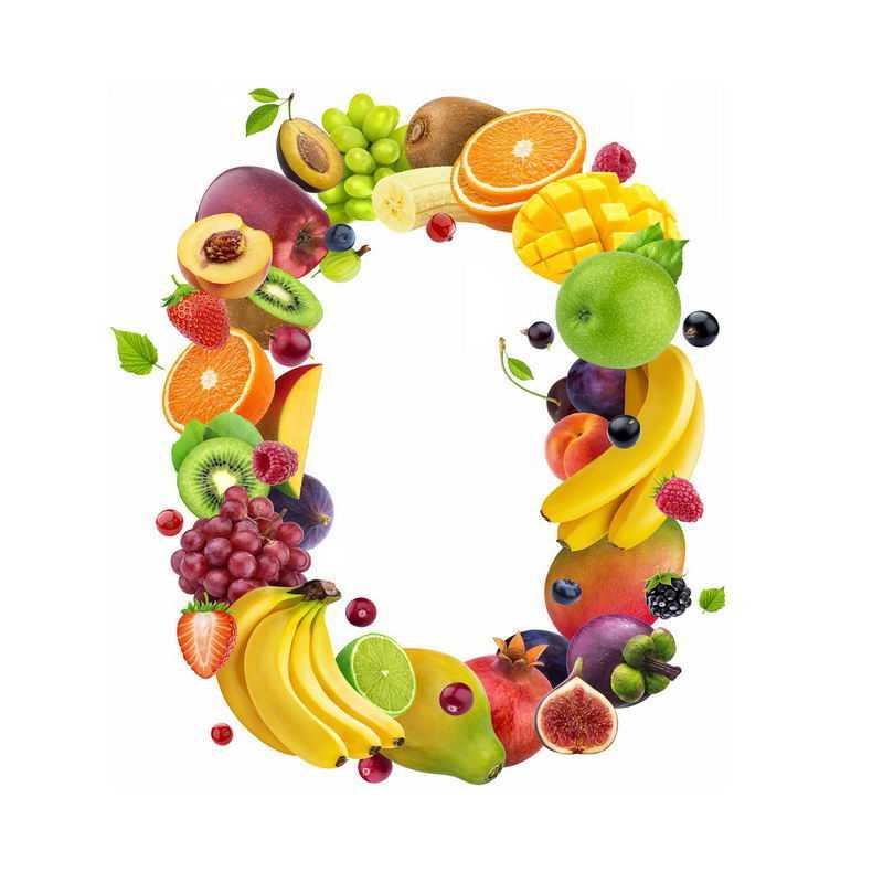 水果组成的数字0葡萄橙子芒果苹果香蕉猕猴桃石榴山竹等2528289免抠图片素材