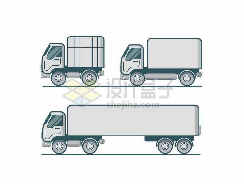 3款MBE风格的小货车大卡车侧面图5468093矢量图片免抠素材