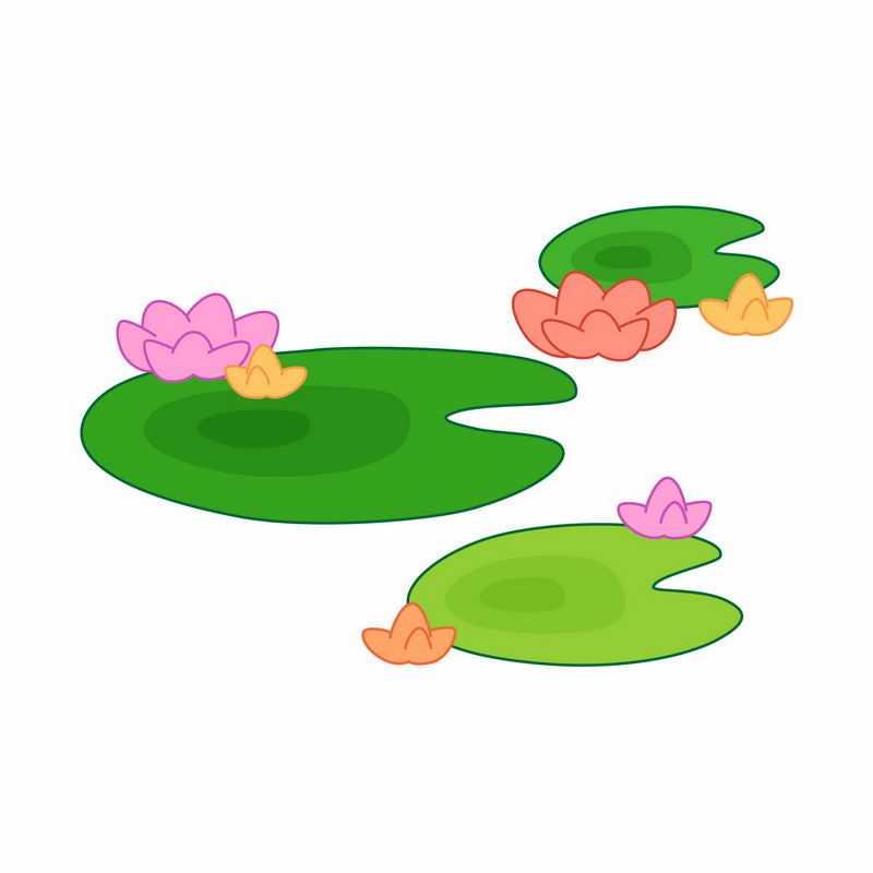 盛开的卡通莲花与莲叶手绘插画4062371矢量图片免抠素材