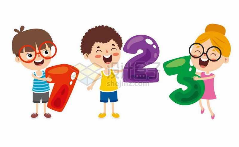 3个卡通小孩拿着数字123象征了数学学习1704997矢量图片免抠素材