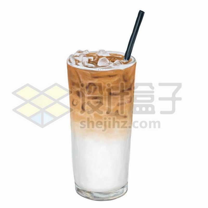 一杯冰咖啡珍珠奶茶手绘插画9495070图片免抠素材