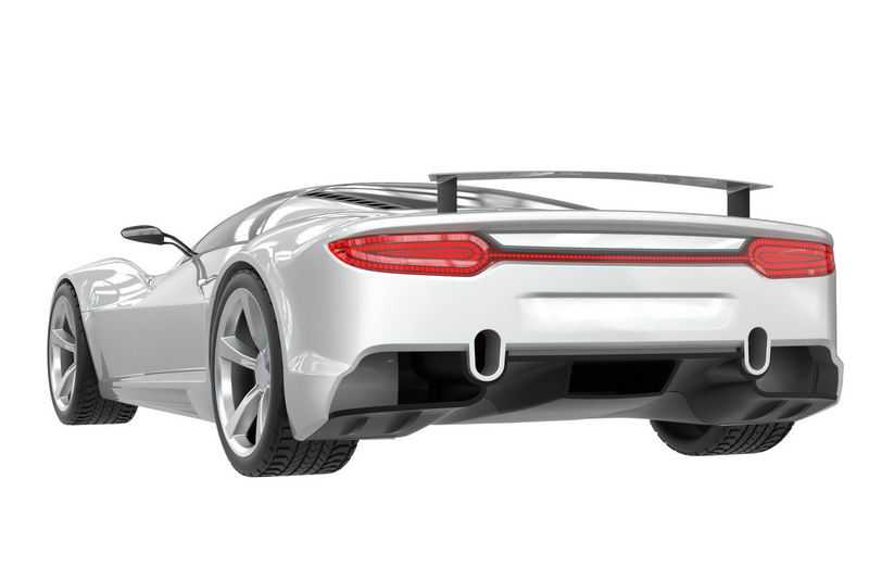 一辆银白色的超级跑车模型后视图7227865png图片免抠素材