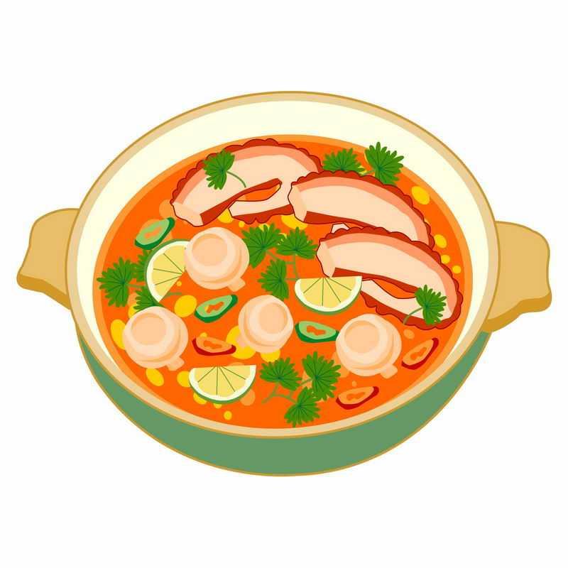 一碗西红柿酸辣海鲜汤手绘美食2277024矢量图片免抠素材