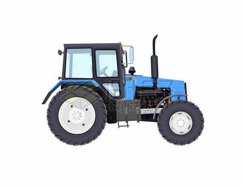 逼真的蓝色机壳的农用拖拉机头侧面图8441395矢量图片免抠素材