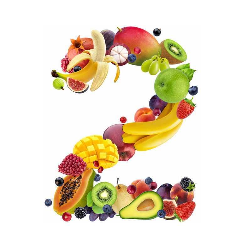 水果组成的数字2香蕉石榴芒果猕猴桃你牛油果等1133473免抠图片素材