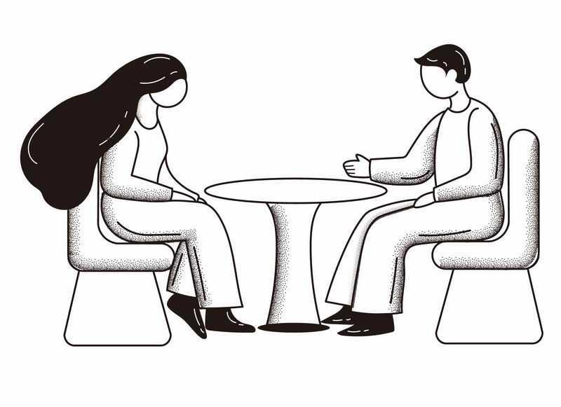 手绘黑白插画风格坐在圆桌前约会交流的男人女人4821256AI矢量图片免抠素材
