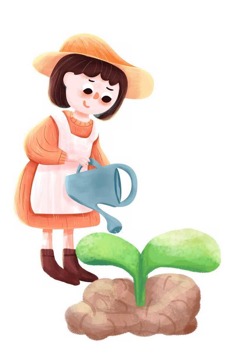 卡通小女孩正在给种子嫩芽浇水植树节1853629png图片免抠素材