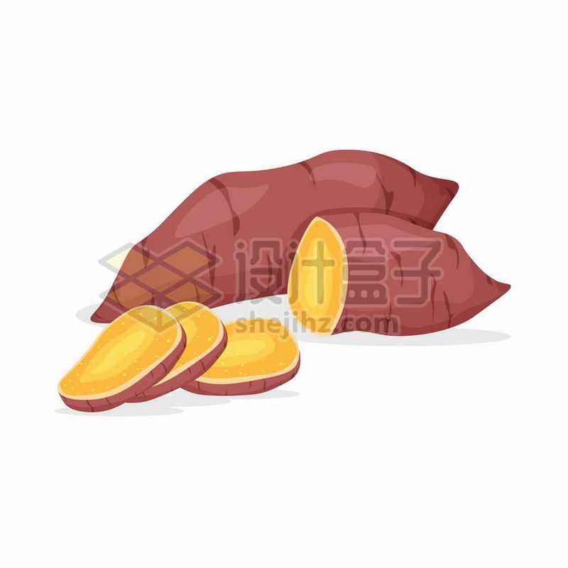 两块红薯黄心红薯美味粗粮9589467矢量图片免抠素材