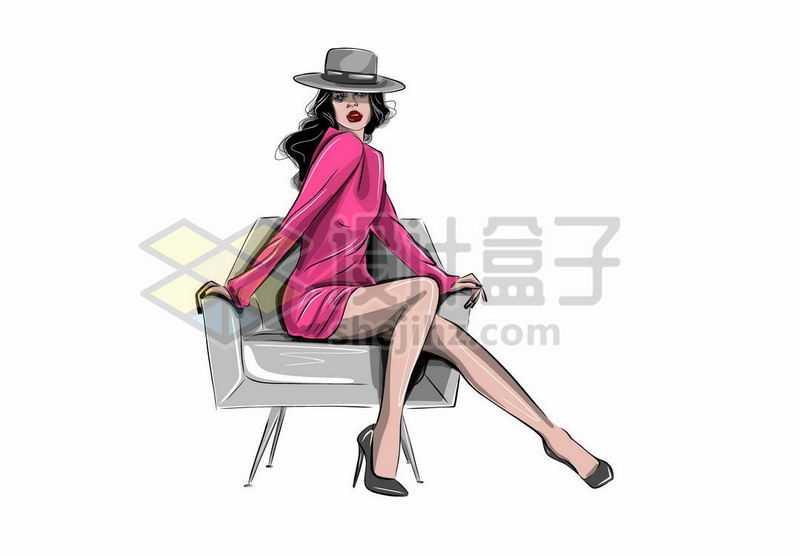 身穿红色衣服露出大长腿的性感女人手绘插画5006902矢量图片免抠素材