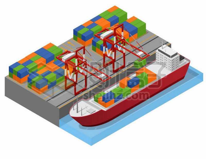 2.5D风格码头上的集装箱货轮和龙门吊桥吊设施9054225矢量图片免抠素材