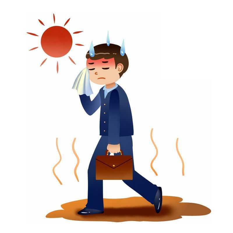 炎炎夏日下热得擦汗的商务人士8446184PSD图片免抠素材