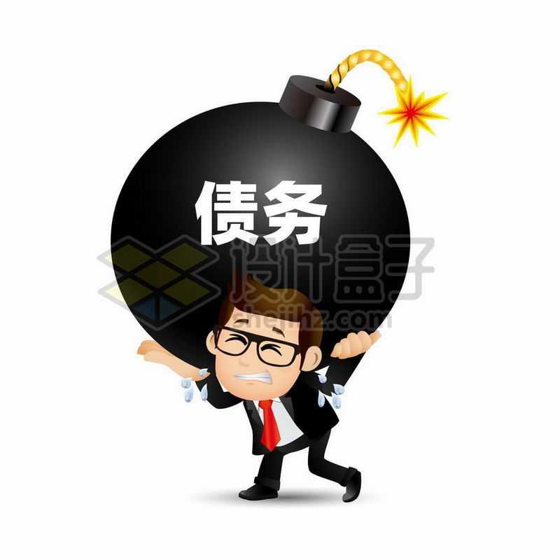 卡通男人背着沉重的炸弹象征了债务问题压垮穷人9119256矢量图片免抠素材