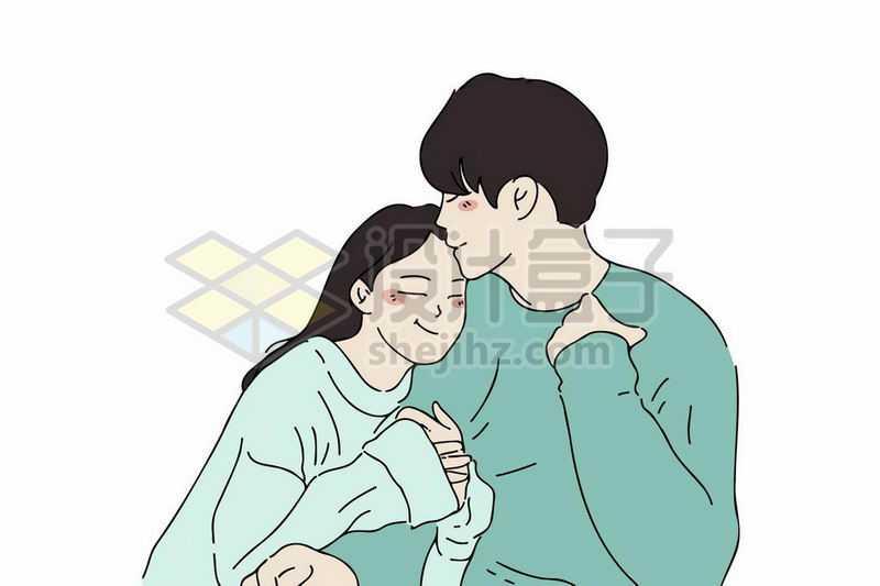 卡通女孩撒娇抱着男朋友的胳膊可爱情侣手绘插画8012525矢量图片免抠素材