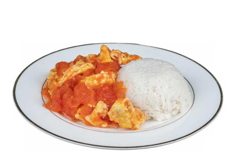 一盘西红柿炒鸡蛋盖浇饭美味美食7683479png图片免抠素材