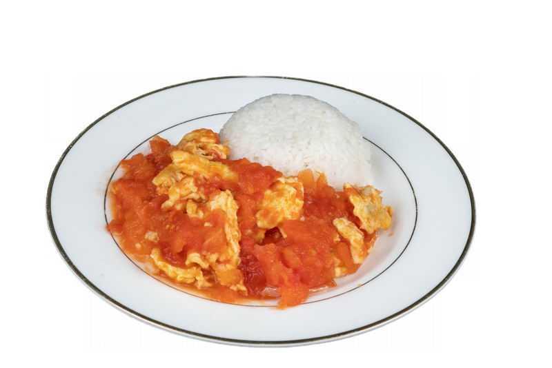 一盘西红柿炒鸡蛋盖浇饭美味美食9866070png图片免抠素材