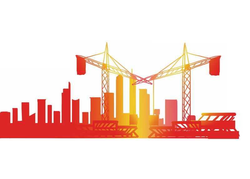 红色黄色渐变色风格建筑工地吊塔剪影3567793PSD图片免抠素材