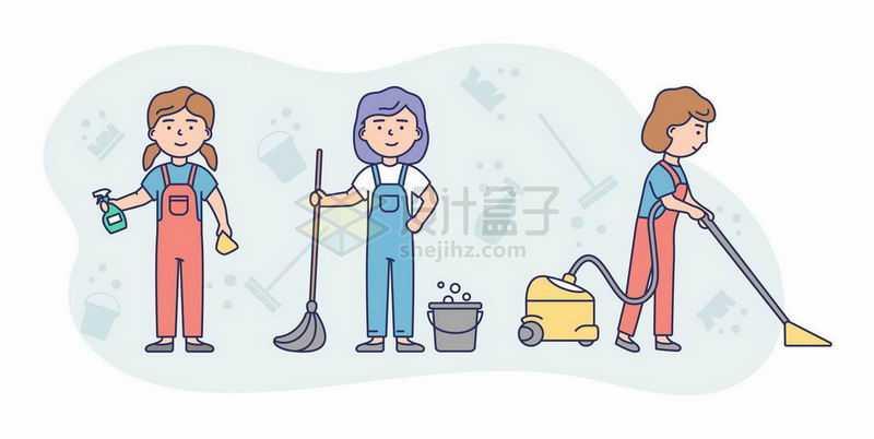 卡通保洁员正在清洁卫生拖地和用吸尘器6230014矢量图片免抠素材