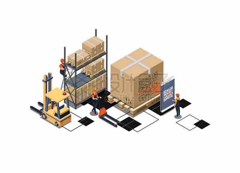 2.5D风格叉车和货架上的货物物流快递行业9070715矢量图片免抠素材